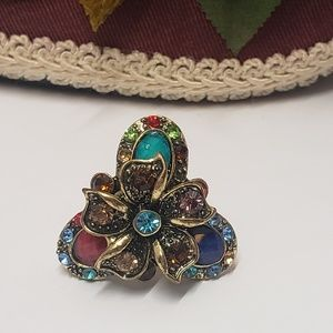Beautiful Multi Colored Crystal Flower Ring